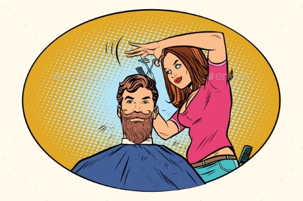 Woman Hairdresser Cuts the Bearded Hipster - Industries Business