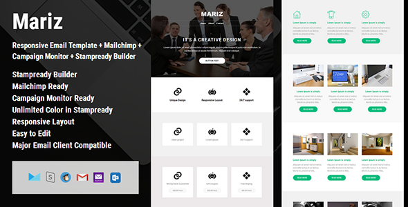 Mariz – Responsive Email Template + Campaign Monitor + Mailchimp + Stampready Builder