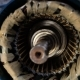 Worker Removes the Electric Motor Rotor. Repair of Industrial Electric Motor.