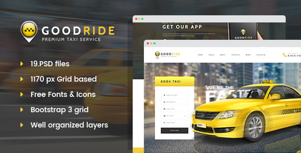 Good Ride - Premium Taxi Service PSD Template - Business Corporate