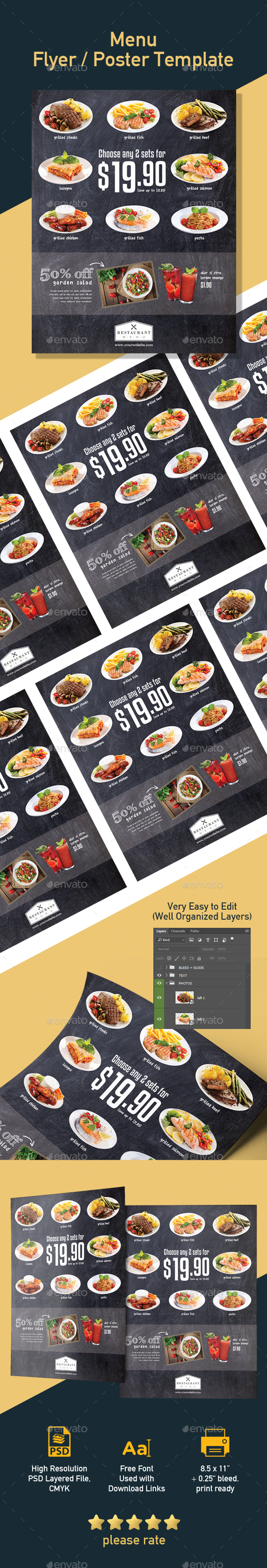 Restaurant Template for Promotion Poster / Flyer - Restaurant Flyers
