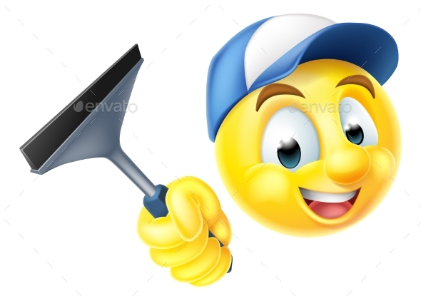 Cleaner Emoji Emoticon with Squeegee - Miscellaneous Characters