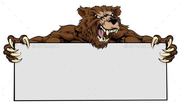 Bear Sports Mascot Sign - Animals Characters