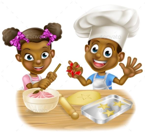 Cartoon Children Bakers - Miscellaneous Vectors