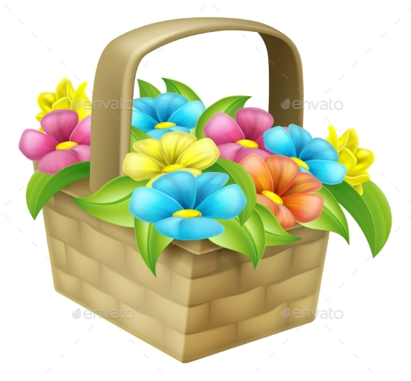 Cartoon Floral Basket - Flowers & Plants Nature