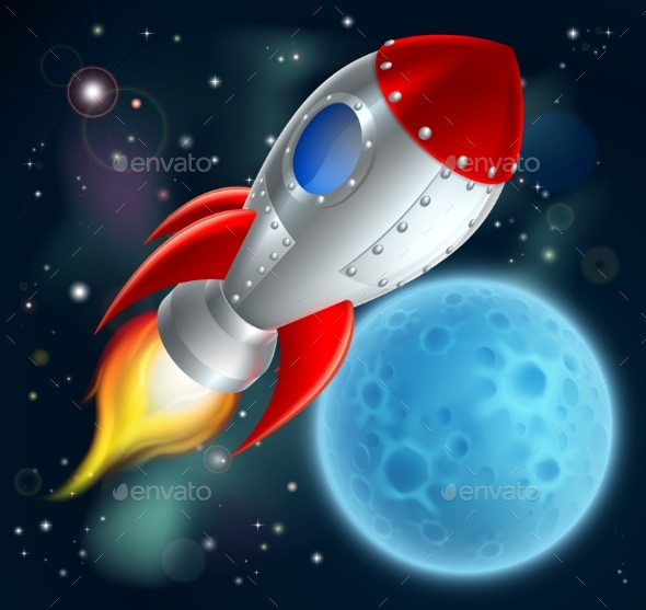 Cartoon Rocket Space Ship - Travel Conceptual