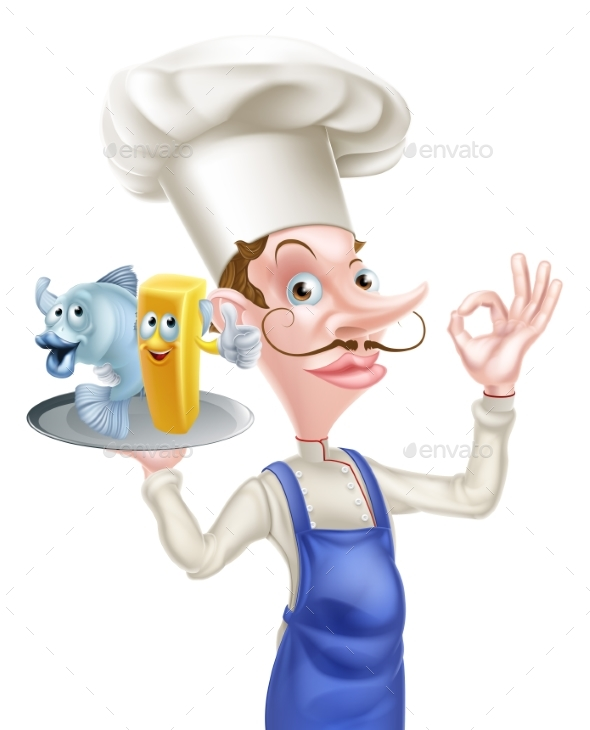 Cartoon Fish and Chips Chef - Food Objects