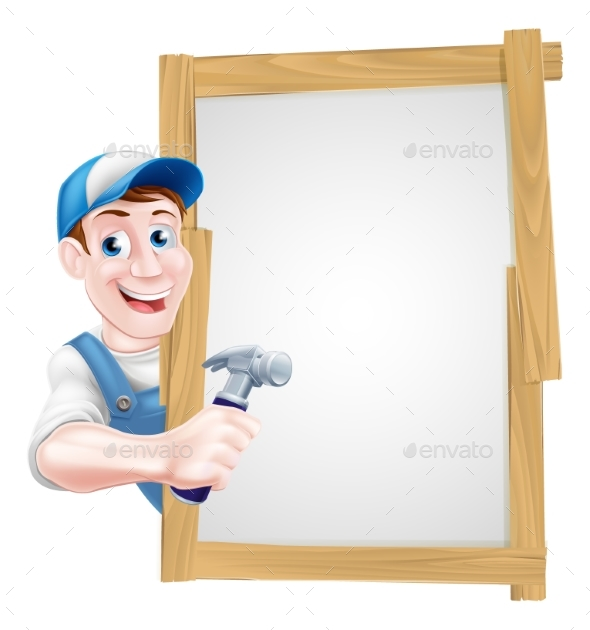 Cartoon Carpenter Sign - Miscellaneous Vectors