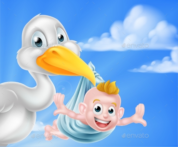 Cartoon Stork Holding Baby - Animals Characters