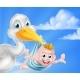 Cartoon Stork Holding Baby