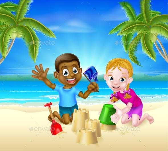 Cartoon Kids Building Sandcastles - People Characters