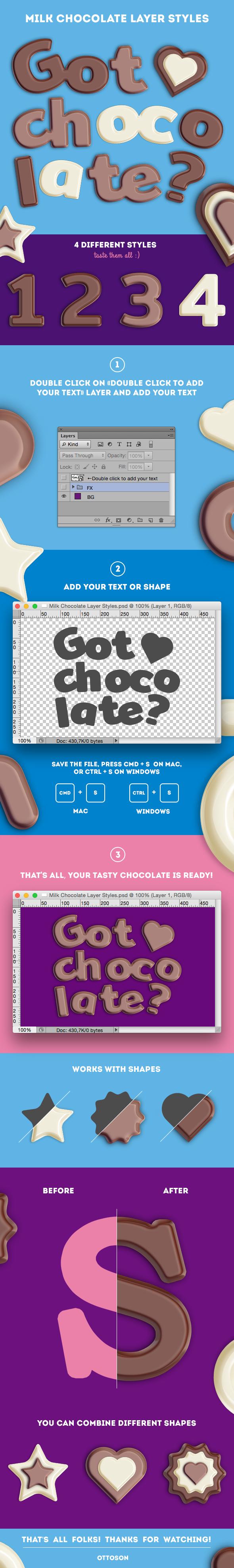 Milk Chocolate Layer Styles - Photoshop Add-ons