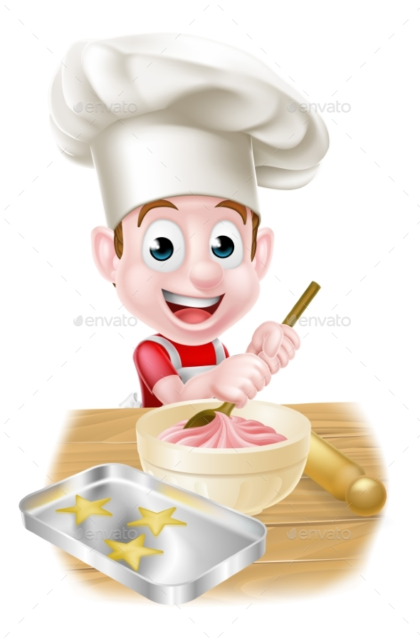 Little Cartoon Boy Baking - Food Objects
