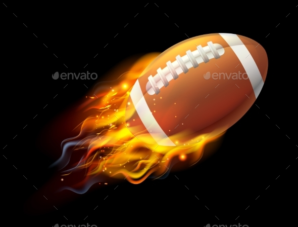 American Football Ball on Fire - Sports/Activity Conceptual