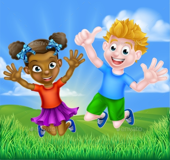 Happy Cartoon Boy and Girl - People Characters
