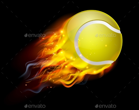 Tennis Ball on Fire - Sports/Activity Conceptual