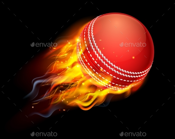 Cricket Ball on Fire - Sports/Activity Conceptual