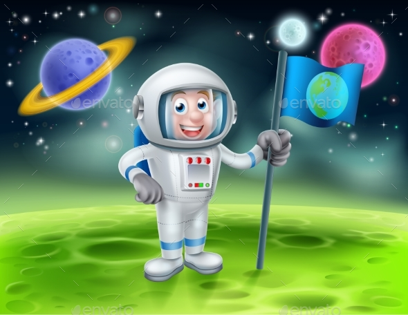Cartoon Astronaut Alien Moon Scene - Travel Conceptual