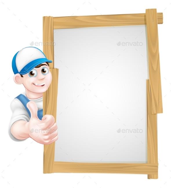 Cartoon Thumbs Up Worker - Miscellaneous Vectors