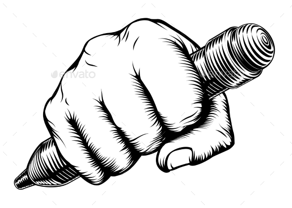 Woodcut Fist Hand Holding Pencil - Miscellaneous Vectors