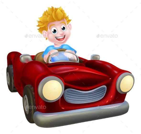 Cartoon Boy Driving Car - People Characters