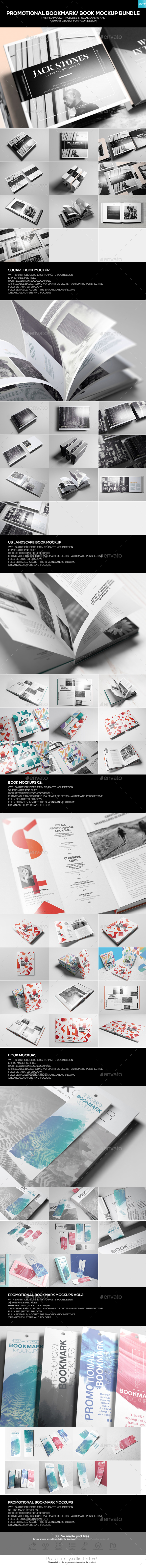 Promotional Bookmark/ Book Mockup Bundle - Books Print