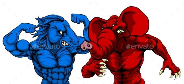 American Politics Republican Democrat Animals - Animals Characters