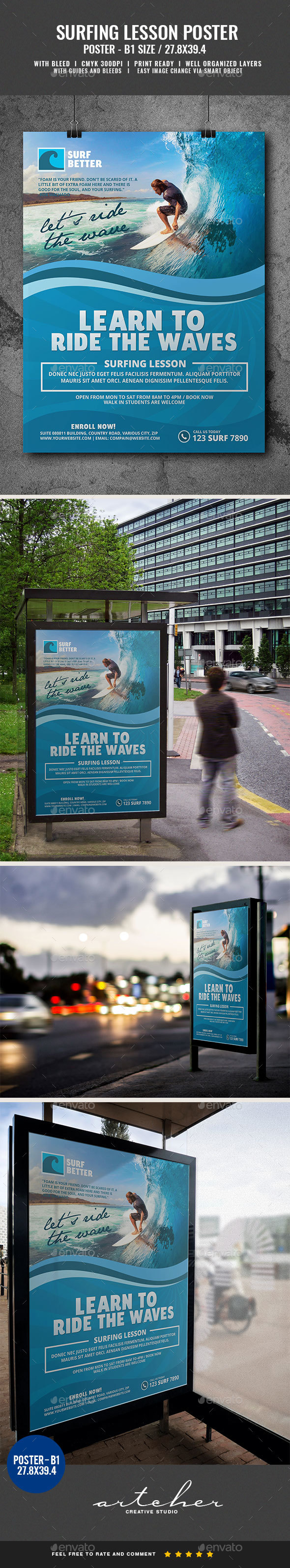Surfing Lesson Poster - Signage Print Templates