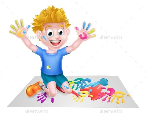 Cartoon Boy Painting - People Characters