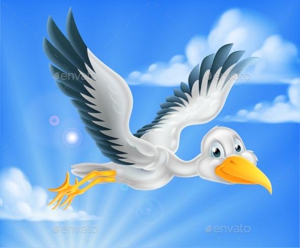 Cartoon Stork Character - Animals Characters