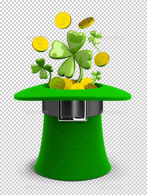 St Patricks Hat with Coins and Clovers - Objects 3D Renders