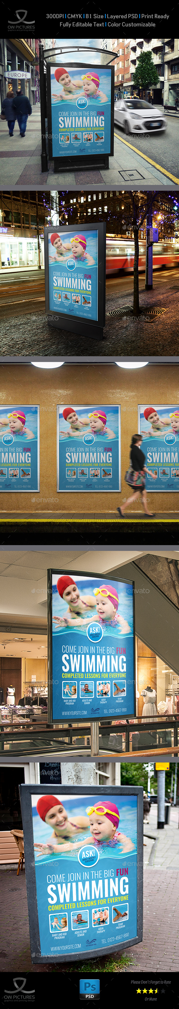 Swimming Poster Template - Signage Print Templates