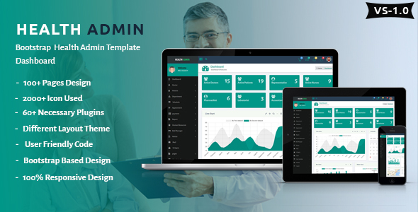 Image of Health Admin - Bootstrap Health Admin Template Dashboard