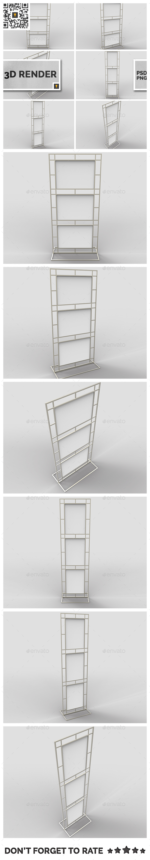 Poster Stand Display 3D Render - 3D Renders Graphics