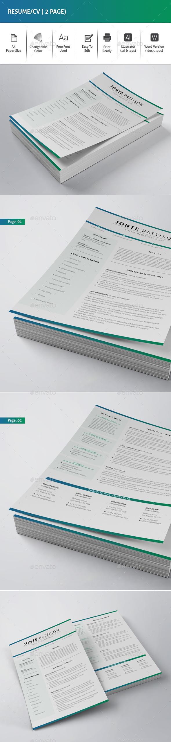Resume/CV (2 Page) - Resumes Stationery