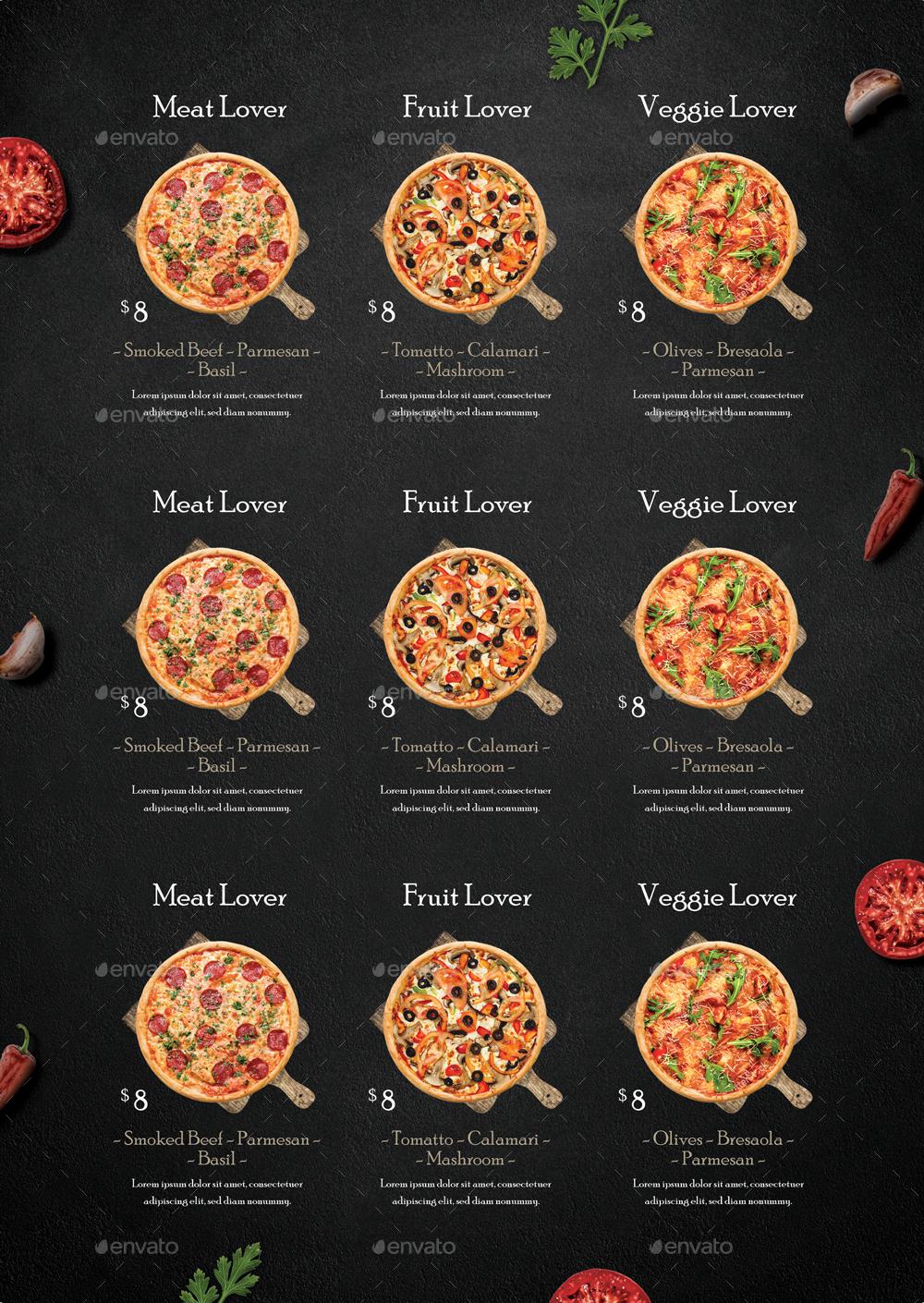 rustic pizza menu