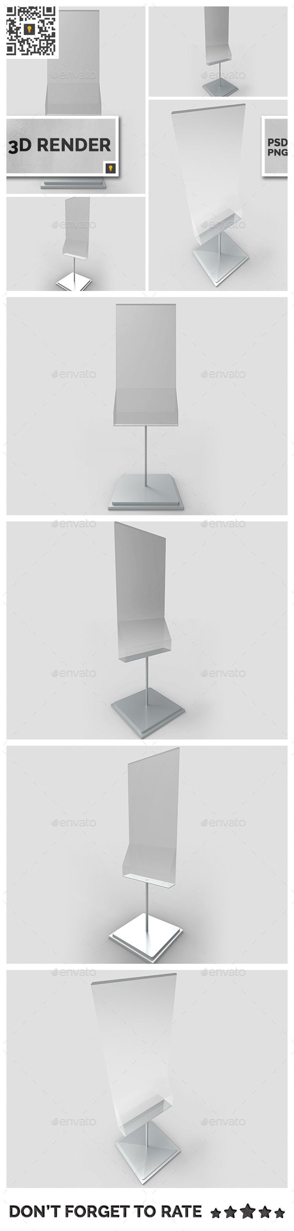 Poster Stand with Rack 3D Render - Objects 3D Renders