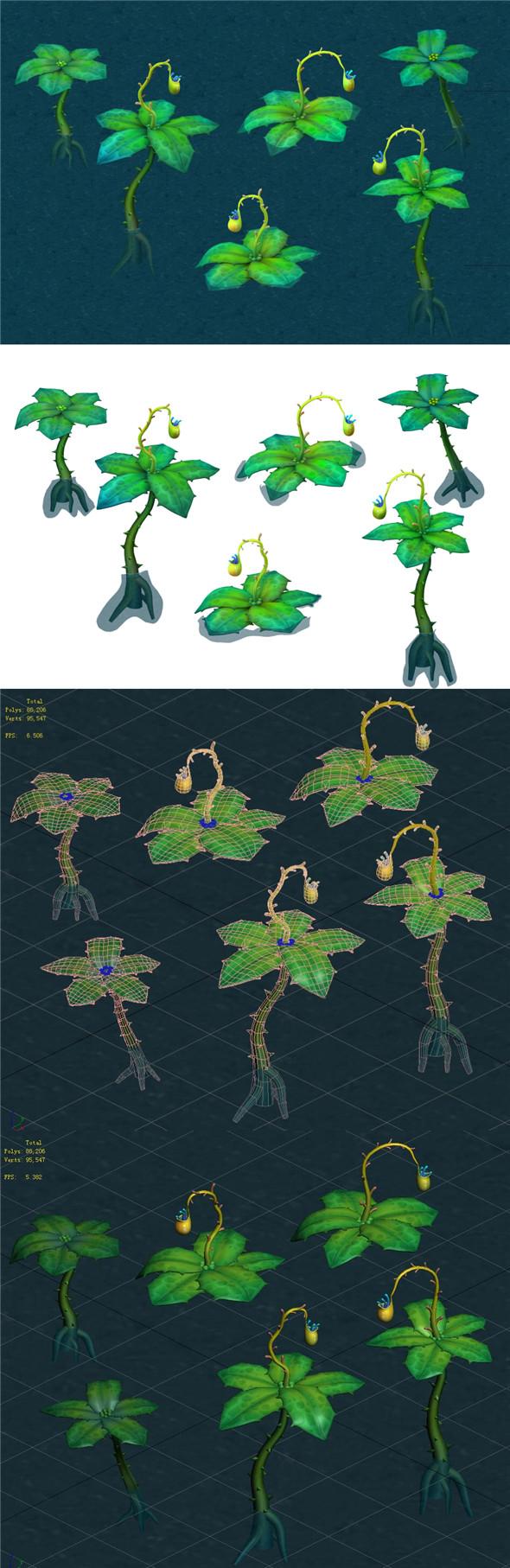 Cartoon version - hanging hanging flowers - 3DOcean Item for Sale