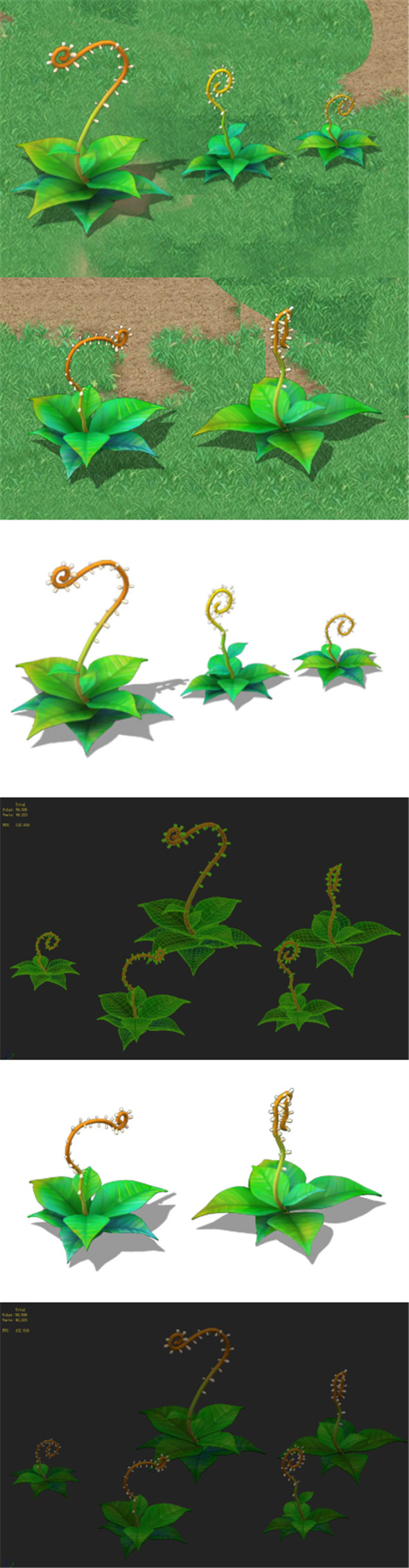 Cartoon version - moving tentacles grass - 3DOcean Item for Sale