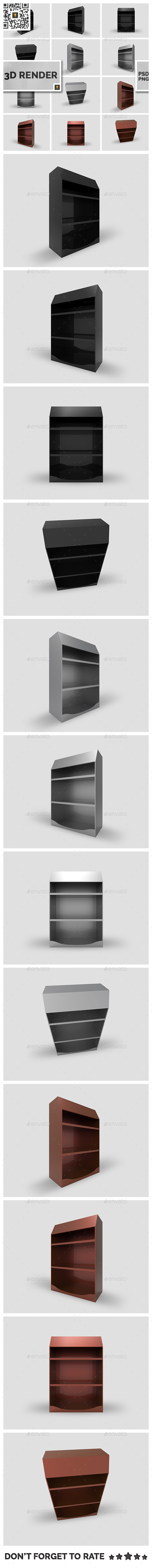 Promotional Shelf Display 3D Render - Objects 3D Renders