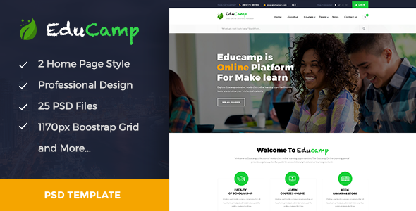 EduCamp - Education & Online Learning PSD Template - Corporate PSD Templates