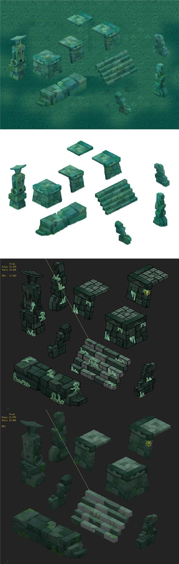 Cartoon version - Maya ruins - 3DOcean Item for Sale