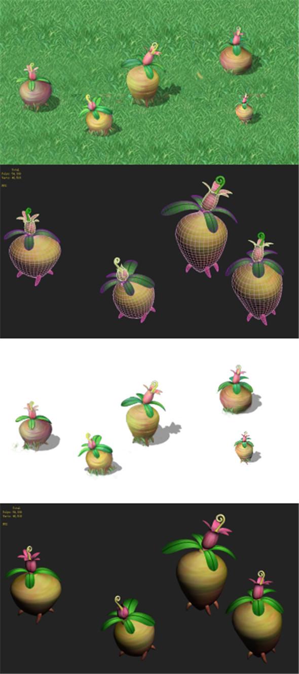 Cartoon version - brain residual variant flowers - 3DOcean Item for Sale