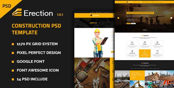 Erection – Construction Multipurpose PSD Template
