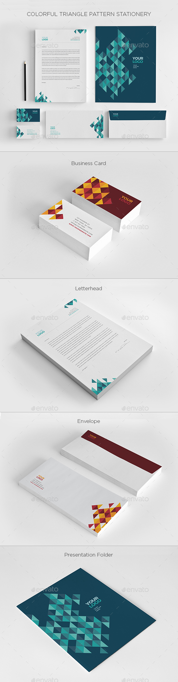 Colorful Triangles Pattern Stationery - Stationery Print Templates