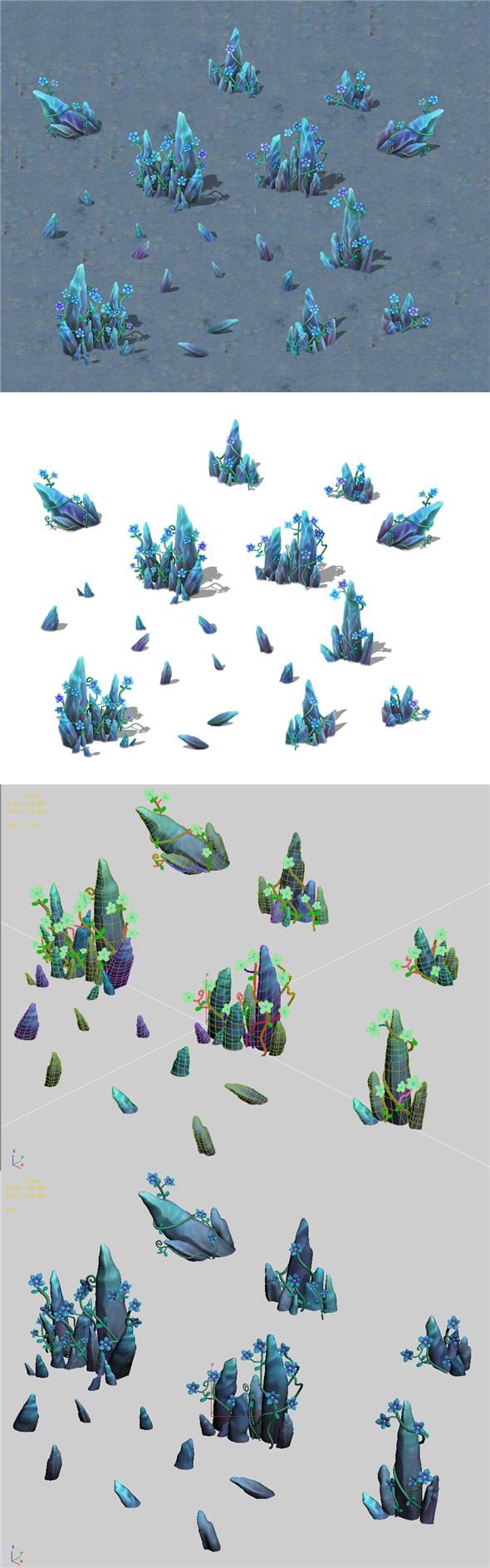 Cartoon version - crystal fantasy flower - 3DOcean Item for Sale
