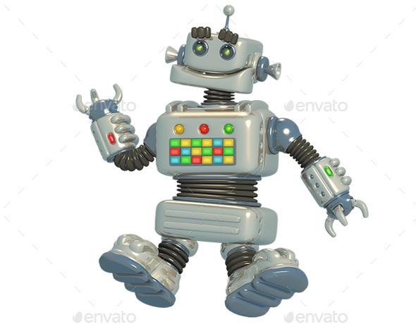 Cartoon Robot 3D Illustration - Characters 3D Renders