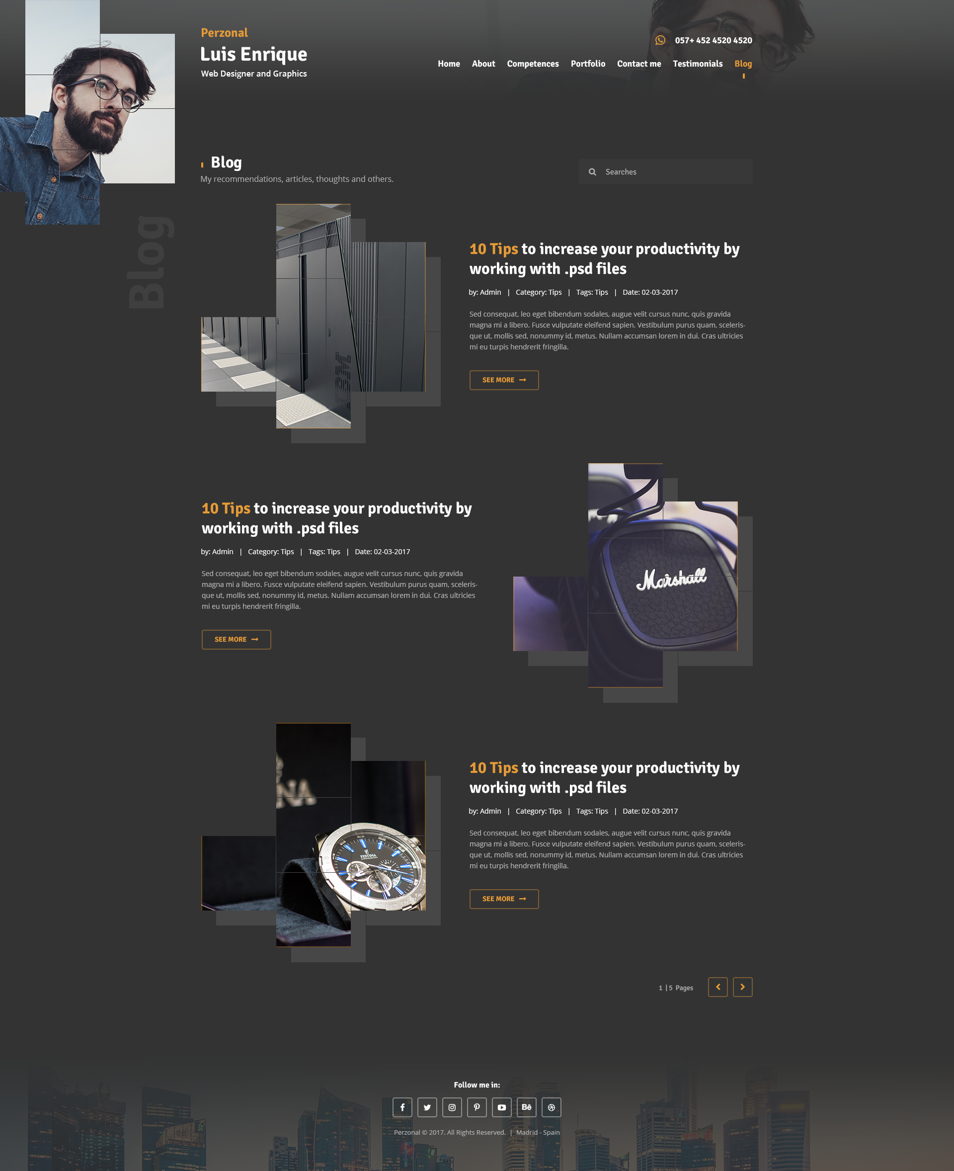 Perzonal - Resume, CV, Portfolio, Blog. PSD Template by Creative_Moments
