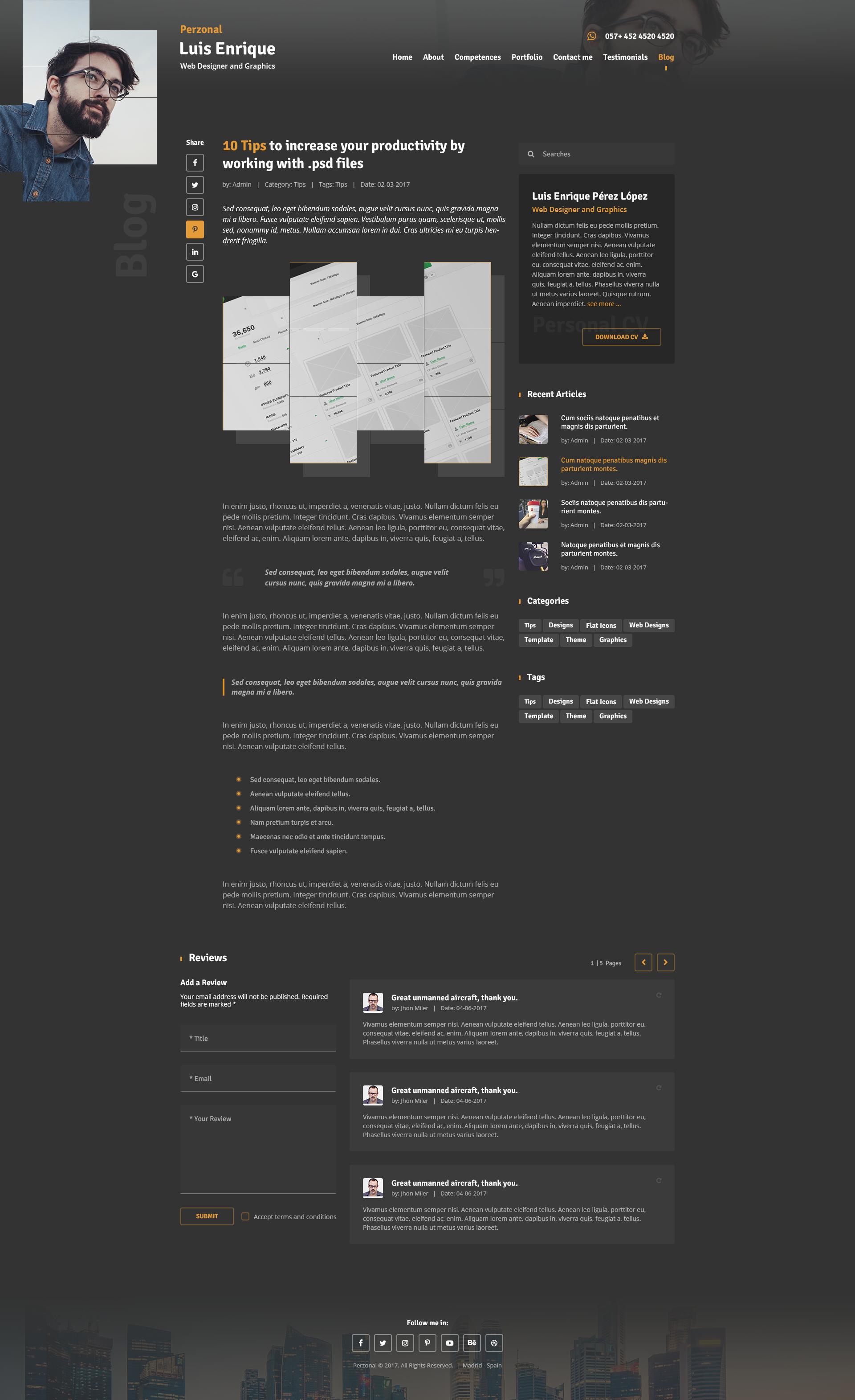 perzonal resume cv portfolio blog psd template by