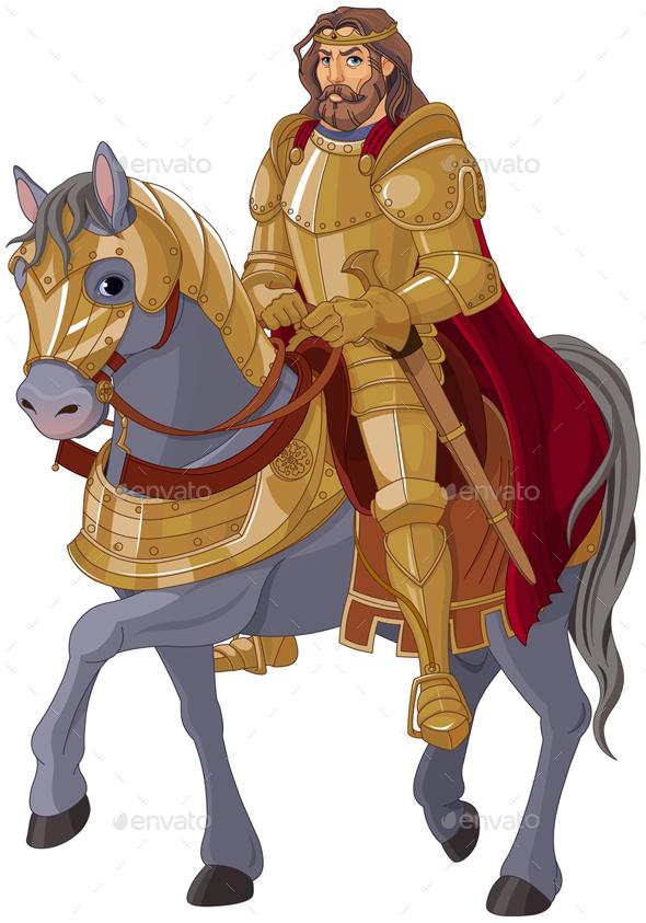 Medieval King Horseback - Characters Vectors